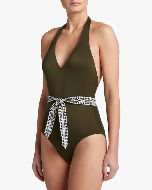 Lem Lem Lena Deep-V Belted One-Piece Swimsuit 1