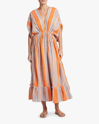 Amira Orange Plunge-Neck Dress