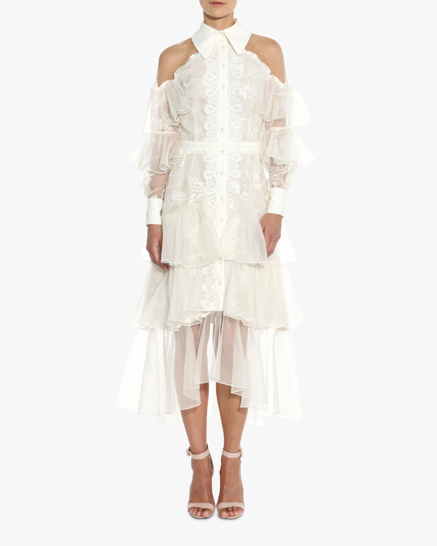 Off-Shoulder Tiered Silk Midi Dress