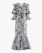 Marchesa Embroidered Silk Ruffle-Sleeve Gown 0