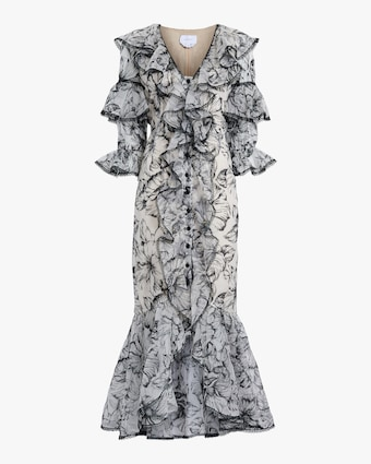 Marchesa Embroidered Silk Ruffle-Sleeve Gown 1