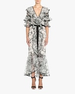 Marchesa Embroidered Silk Ruffle-Sleeve Gown 2