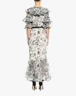 Marchesa Embroidered Silk Ruffle-Sleeve Gown 3