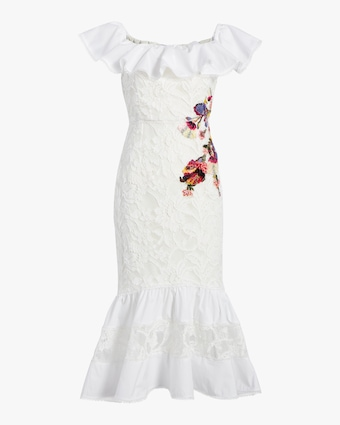 Marchesa Off-Shoulder Lace Mermaid Dress 1