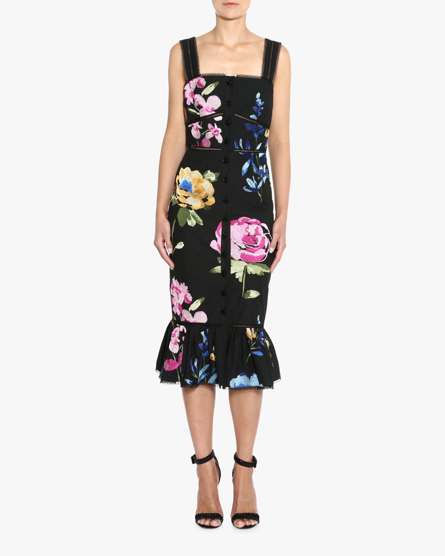 Embroidered Ruffle-Hem Midi Dress