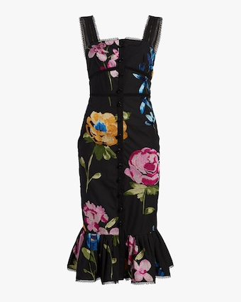 Marchesa Embroidered Ruffle-Hem Midi Dress 1