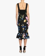 Marchesa Embroidered Ruffle-Hem Midi Dress 3