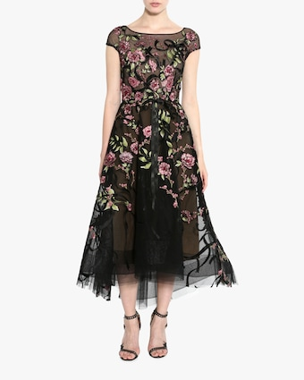Floral-Embroidered Lace Cocktail Dress