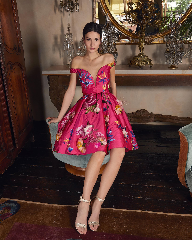 Marchesa Embroidered Off-Shoulder Cocktail Dress 1