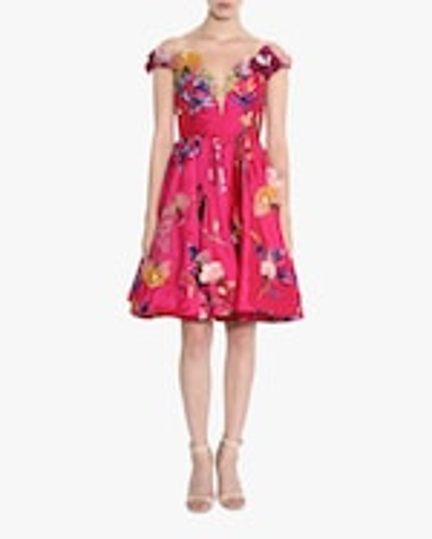Marchesa Embroidered Off-Shoulder Cocktail Dress 2