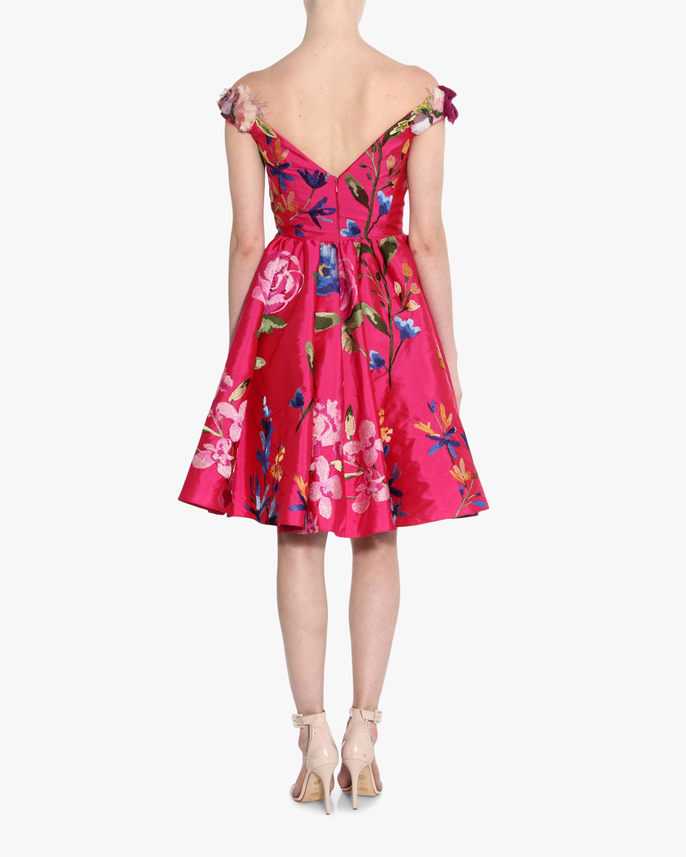 Marchesa Embroidered Off-Shoulder Cocktail Dress 3