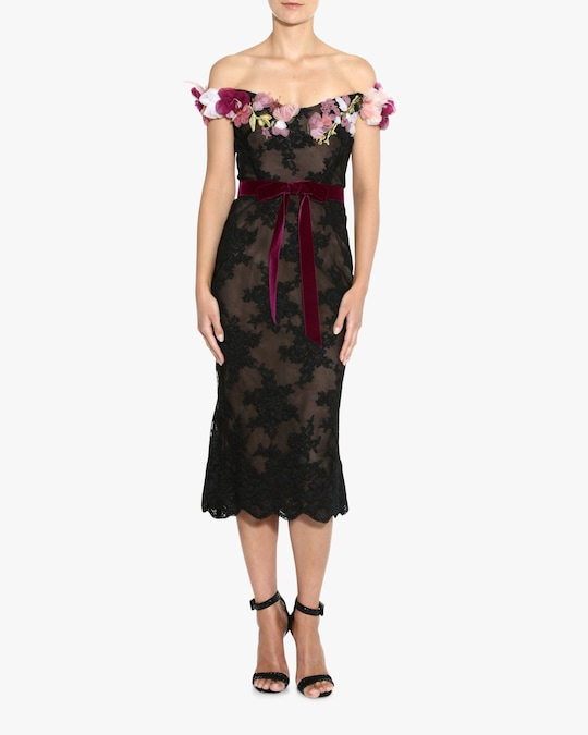 Marchesa Off-Shoulder Lace Cocktail Dress 1