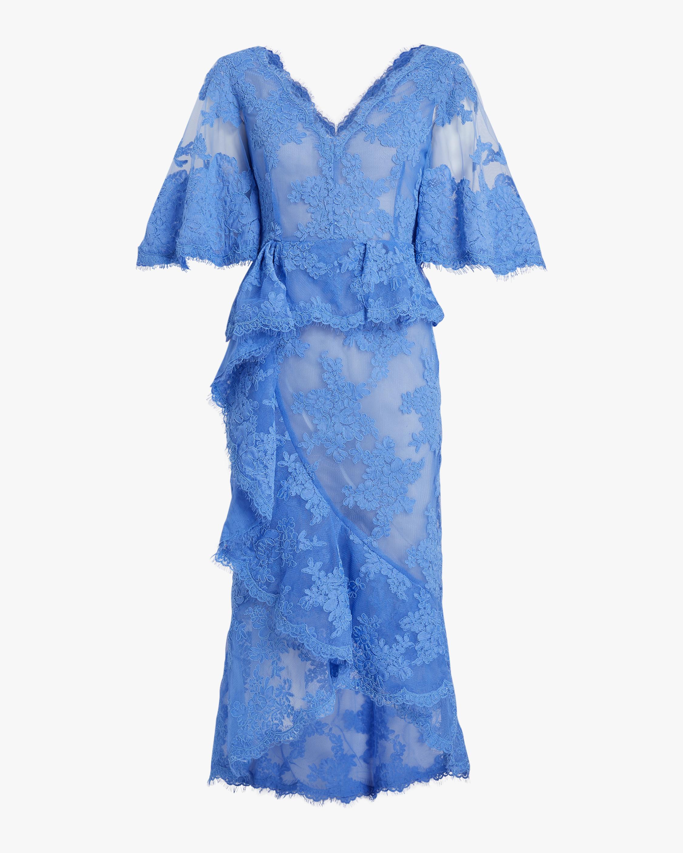 Marchesa V-Neck Ruffle Lace Cocktail Dress 0