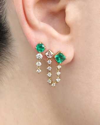 Round Chained Drop Earrings