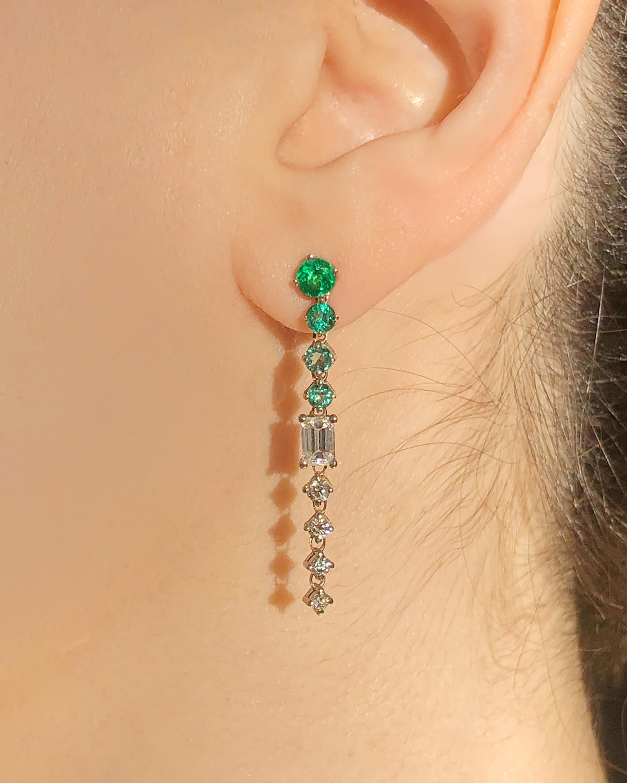 Chérut Chained Emerald Drop Earrings 2