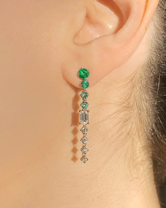 Chained Emerald Drop Earrings