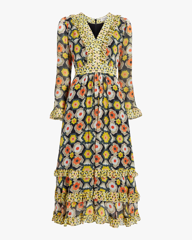 Temperley London V-Neck Tiered Midi Dress 0