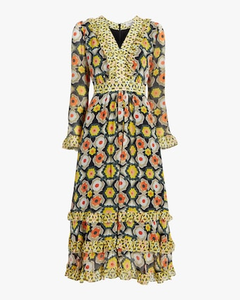 Temperley London V-Neck Tiered Midi Dress 1