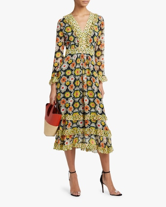 Temperley London V-Neck Tiered Midi Dress 2