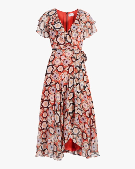 Temperley London Crochet Print Wrap Dress 0