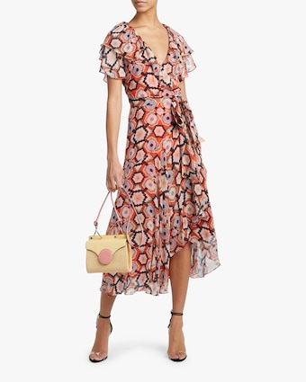 Crochet Print Wrap Dress