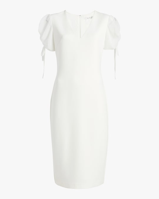 Badgley Mischka Puff-Sleeve Day Dress 0