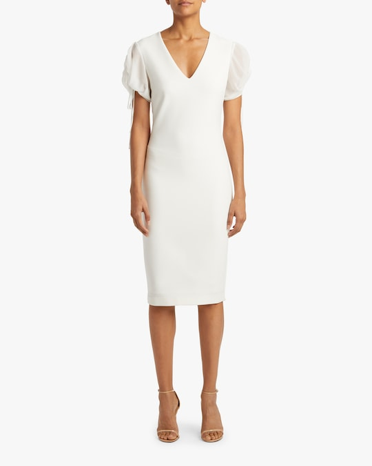 Badgley Mischka Puff-Sleeve Day Dress 1