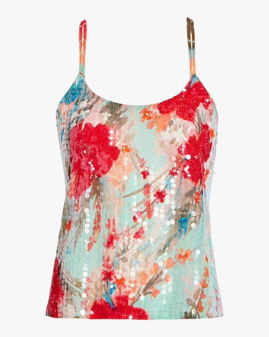 Badgley Mischka Sequin Scoop-Neck Tank 0