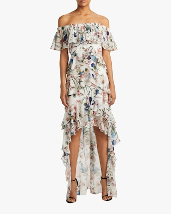 Ruffle Hi-Low Gown