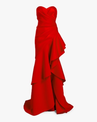 Badgley Mischka Asymmetrical Ruffle Gown 1