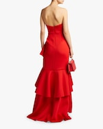 Badgley Mischka Asymmetrical Ruffle Gown 2