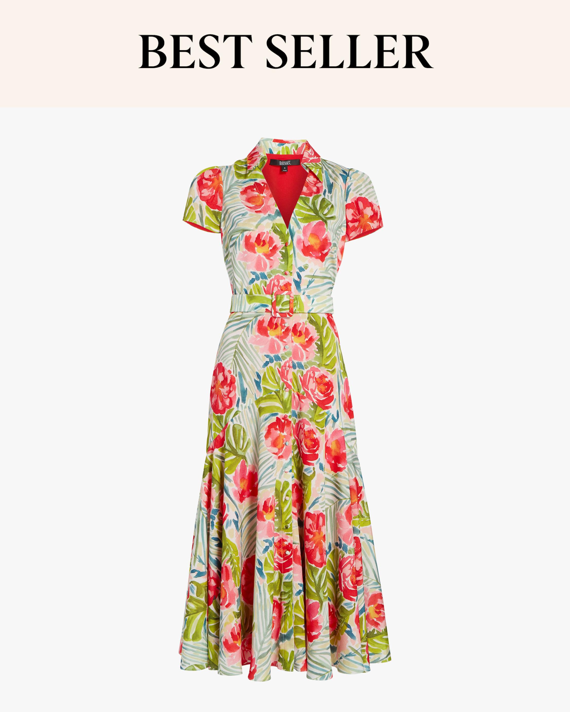 Cap-Sleeve Midi Dress