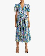 Badgley Mischka Puffy-Sleeve Midi Dress 1