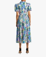 Badgley Mischka Puffy-Sleeve Midi Dress 2