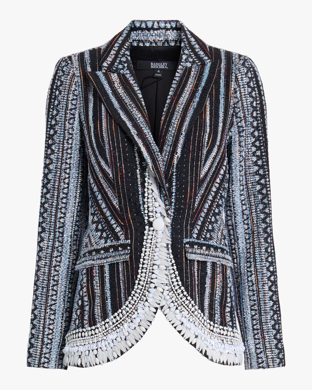 Badgley Mischka Embroidered Jacquard Blazer 0