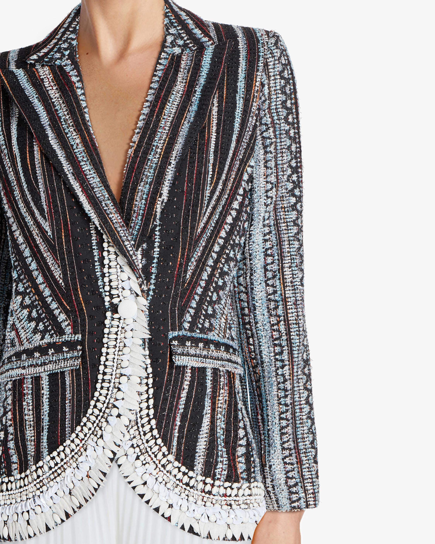 Badgley Mischka Embroidered Jacquard Blazer 3