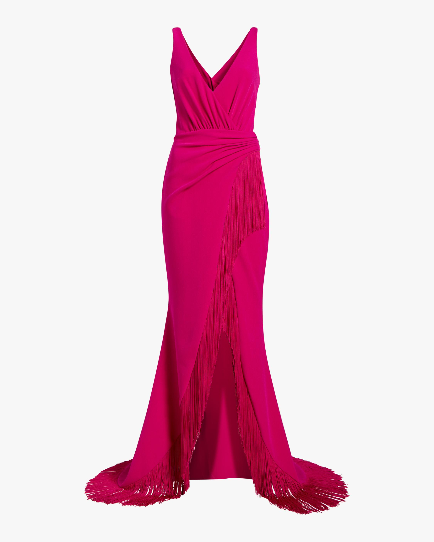Badgley Mischka Fringe Ruffle Gown 1