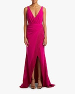 Badgley Mischka Fringe Ruffle Gown 1