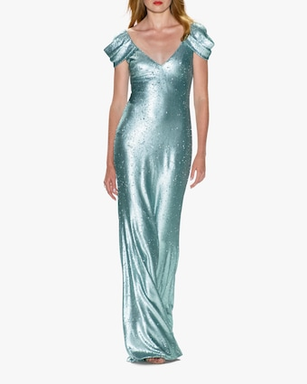 Draped-Sleeve Gown