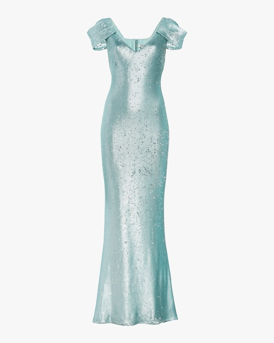 Badgley Mischka Draped-Sleeve Gown 0