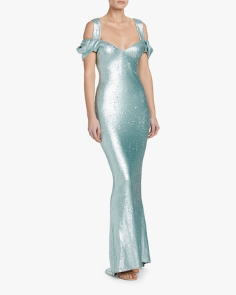 Badgley Mischka Draped-Sleeve Gown 2
