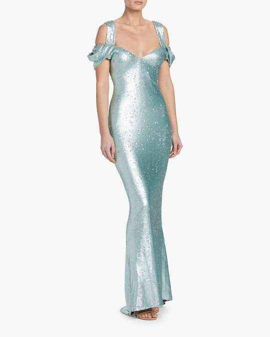 Badgley Mischka Draped-Sleeve Gown 1