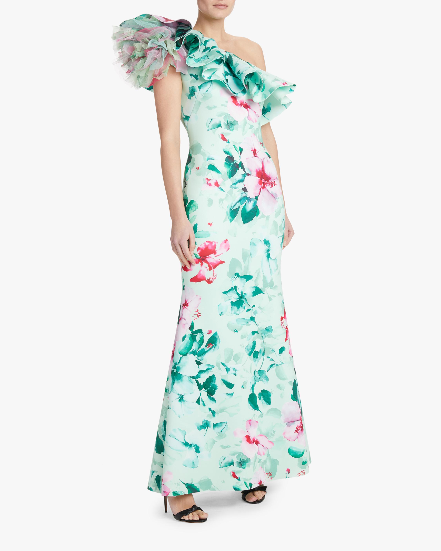 Asymmetrical Ruffle Scuba Gown