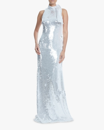 Sequin Draped-Collar Gown