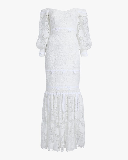 Badgley Mischka Eyelet Off-Shoulder Gown 0