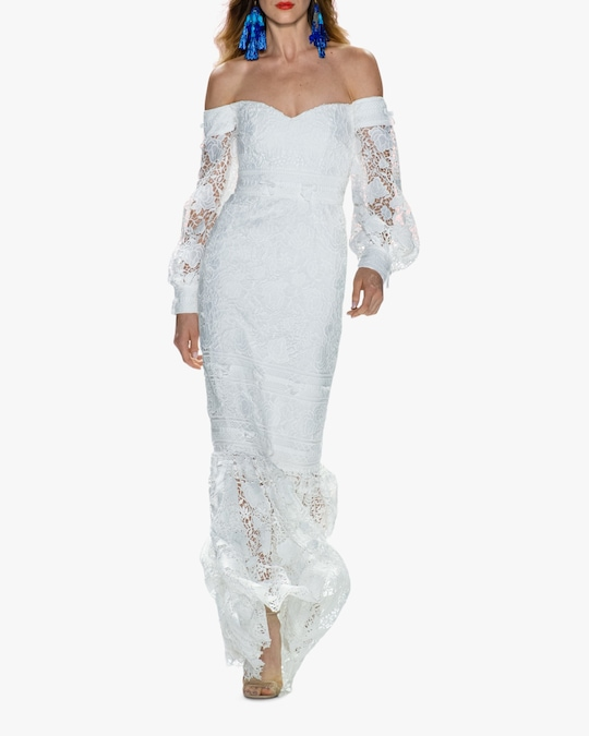 Badgley Mischka Eyelet Off-Shoulder Gown 1