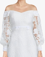 Badgley Mischka Eyelet Off-Shoulder Gown 4