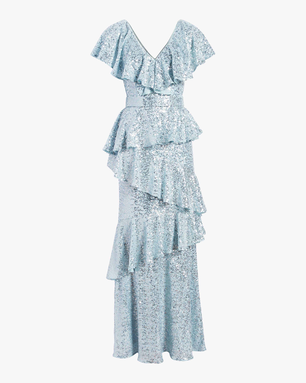 Badgley Mischka Sequin Ruffle Gown 0