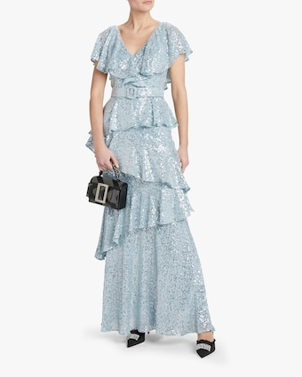 Sequin Ruffle Gown