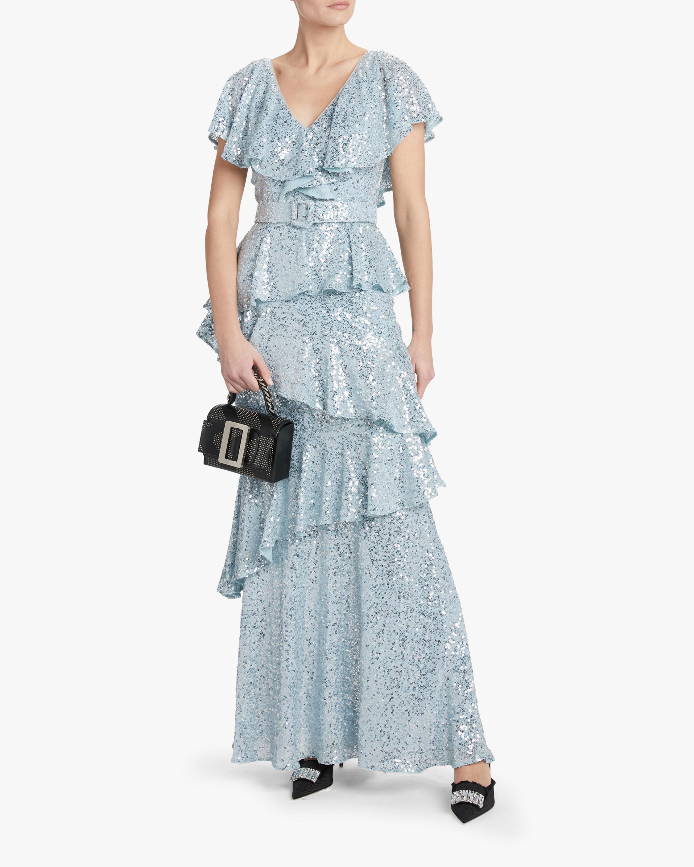 Badgley Mischka Sequin Ruffle Gown 1
